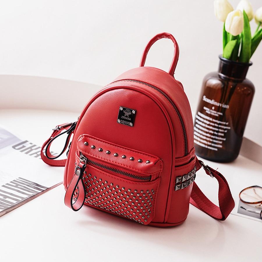 Mini Vintage Backpacks Women Fashion Rivets Bags Ladies Lovely Designer Brand Backpack Woman 2018 Back To School Bag Female 2018