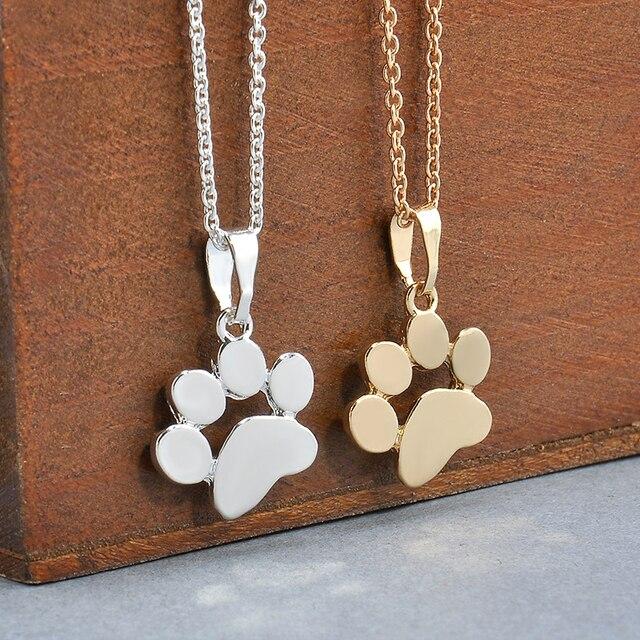 Ожерелья и Подвески Украшения для Для женщин свитер Цепочки и ожерелья милые домашние Товары для собак Следы Paw цепи кулон Цепочки и ожерелья