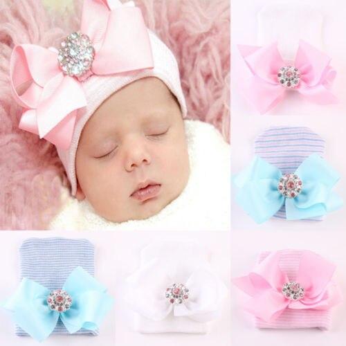 Newborn Baby Toddler Baby Infant Stripe Big Bowknot Knitted Cap Warm Beanie Hat