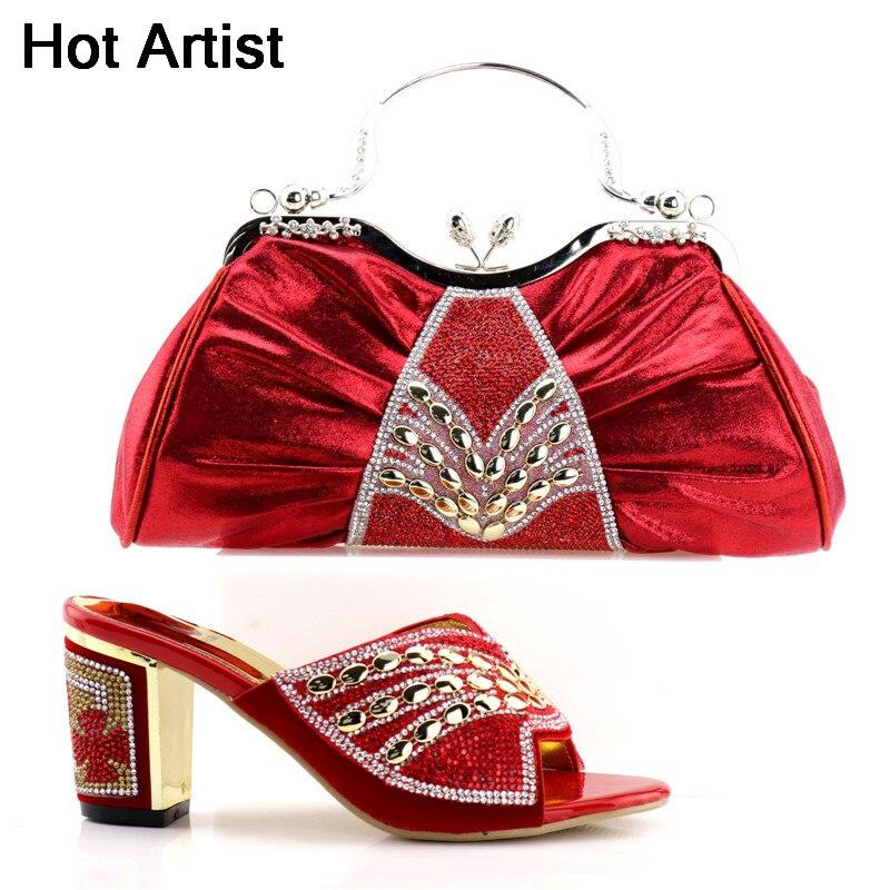 A Hot Moda Estilo Zapatos Artista Altos De Mujer Del Verano 58 rojo Y Juego Bolso Partido Yk Italiano Tacones Vestido rosado Para Negro verde xv4rYwqv