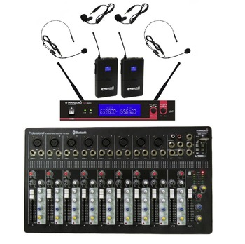 STARAUDIO Pro DJ Stage 10 Channel USB Bluetooth MP3 Mixer with 2CH UHF Headset Microphones  SMX-1000B