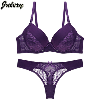 Julexy B C Cup Women Bra Set Intimates Lace Thongs Underwear Set Solid Sexy Bra And Panty Sets