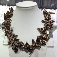 Denti forma placcatura macchie o frangia di colore corda annodata twisted collana reale d'acqua dolce della perla di stile prezzo a buon mercato