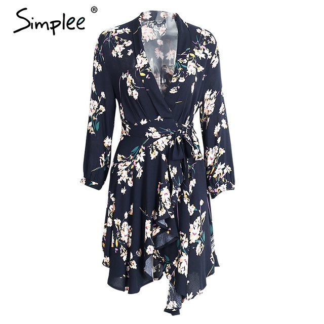 Simplee Boho floral print irregular sexy dress Women chic v neck high waist red short dress Autumn bow party club dress vestidos