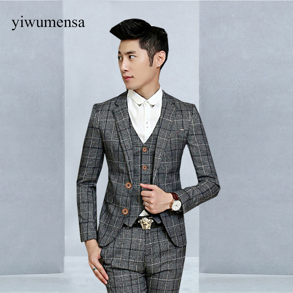 Jacket+Pants+Vest)2018 Famous Brand Tuxedo Mens Suits Wedding Groom ...