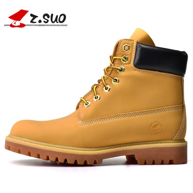 Z. Suo hombres Botas Nuevo Otoño Y El Invierno de Alta Moda Botas de época Con Color Puro Ronda Soles Tendón Dr Martins zapatos