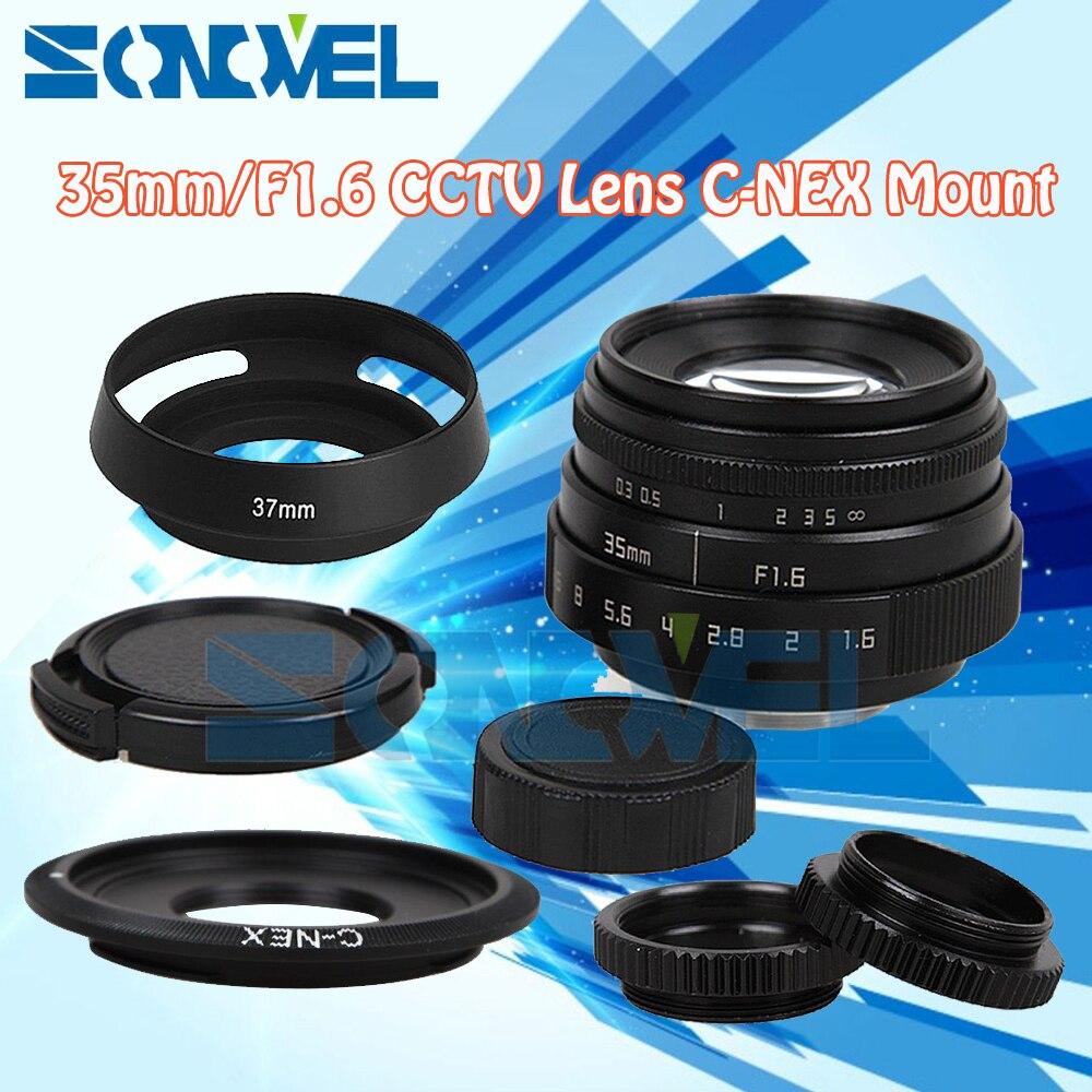 Fujian 35mm F1.6 CCTV Lens C Mount+Lens Hood For Sony E Mount Nex-5T/5R Nex-3N Nex-6 Nex-7 Nex-5R A6300 A6100 A6000 A6500 A5000