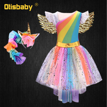 Girl Halloween Rainbow Pony Costume Infant Unicorn Dress Horse Girl Flutter Sleeve Glitter Pony Dress Angel Wings Headband Kids plus flutter sleeve botanical embroidery dress