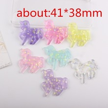 10pcs/lot flat back resin cabochons accessories resin unicorn with star in it mix colors(China)