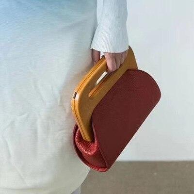Fashion PU Leather Women Handbag Mini Wood Clip Women's Bag Casual Shoulder Messenger Bag Crossbody Bag For Women Clutch Purse