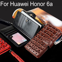 For Huawei Honor 6a Case Plus Luxury Crocodile Snake Leather Flip Business Style Wallet Cases For