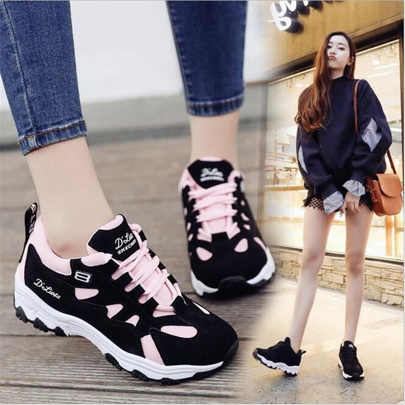 Spring Women Shoes 2018 New Fashion white Black Platform Sneakers Women Casual Shoes Harajuku Basket Femme Tenis Feminino