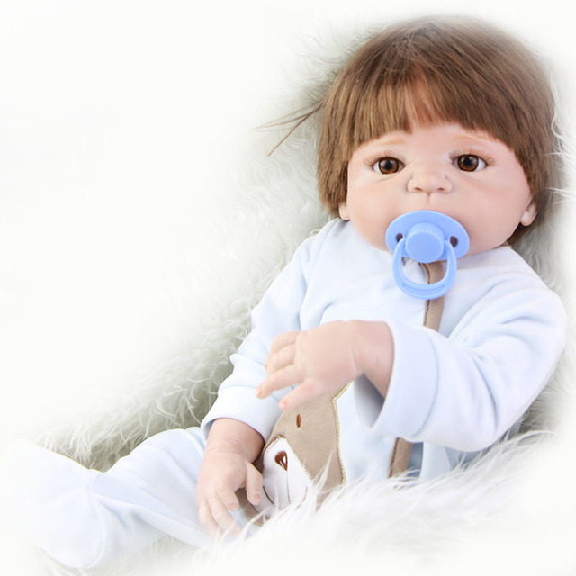 Гладкие волосы 23 ''reborn baby doll настолько по-настоящему полный силиконовые тела безопасный реалистичная кукла мальчик toys для детей день рождения рождественские подарки