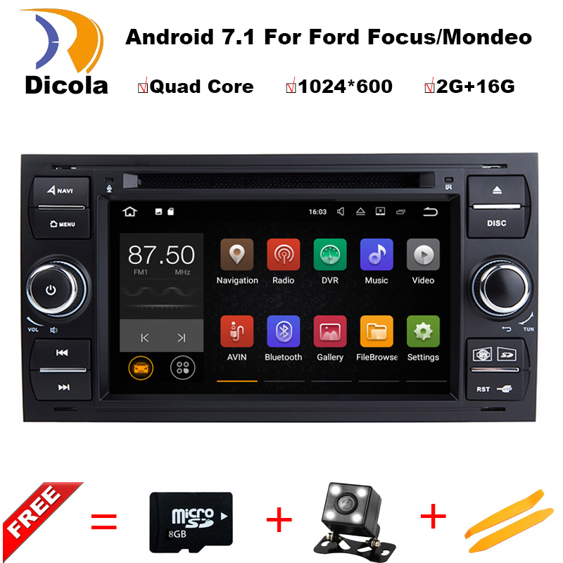 Android7.11 2 Din 7 Inch Car DVD Player For Ford/Focus/Mondeo/Transit/C-MAX/Fiest With GPS Navigation Radio BT 1080P Ipod FM Map isudar car multimedia player gps 2 din car radio audio auto for ford mondeo focus transit c max bluetooth auto rear view camera