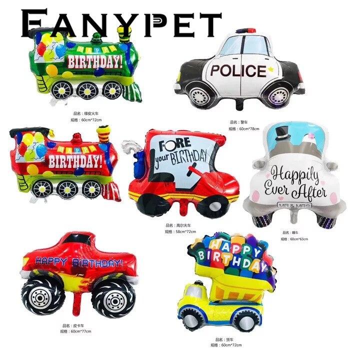 DIY Cartoon Car Balloons Fire Truck Car Train Foil Balloon wedding Globos Children Gifts Birthday Party