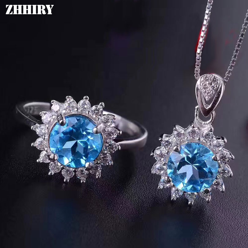 ZHHIRY Real Natural Blue Topaz Jewelry Sets 925 Sterling Silver Ring Flowers Necklace Pendant Women Gemstone Fine Jewelry 7*7mm