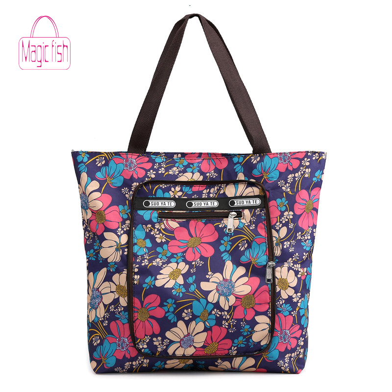 Over-Bags Flower Floral Nylon Big-Capacity Waterproof Fashion Casual Women's Zipper Fold