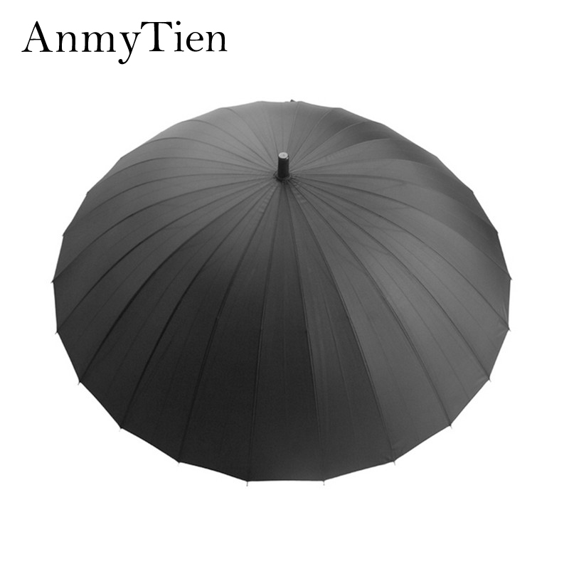 (11Colors Sale) 24K Ribs Man&Woman Golf Long-Handle Super Big&Strong Windproof Outdoor Umbrella With Straight Handle Manual Open