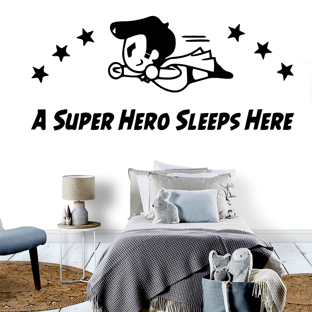 Removable A Super Hero Sleeps Here Waterproof Wall Stickers Home Decor For Home Decor Living Room Bedroom Wall Decal Home Decor