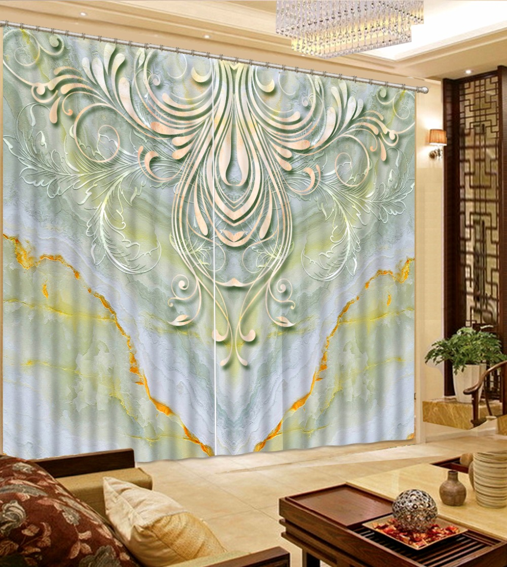 Blackout Curtains For Living Room Hotel European Simple: 3D Cortina Blackout Simple Marble Custom Size Window