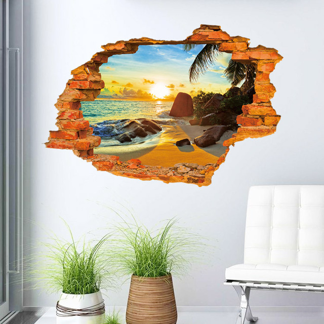 Creative 3d sticker sunshine beach wall sticker 60 90cm for Creative mural designs