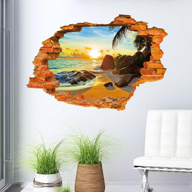 Creative 3D sticker Sunshine Beach Wall Sticker 60*90CM bedroom house quarto mural wall decals Home Decor