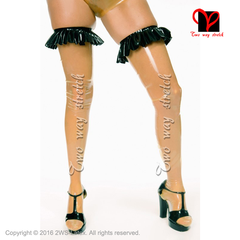 Sexy Long Latex Thigh High Stockings With Ruffles On Top Rubber Tights Leg Wear WZ-015