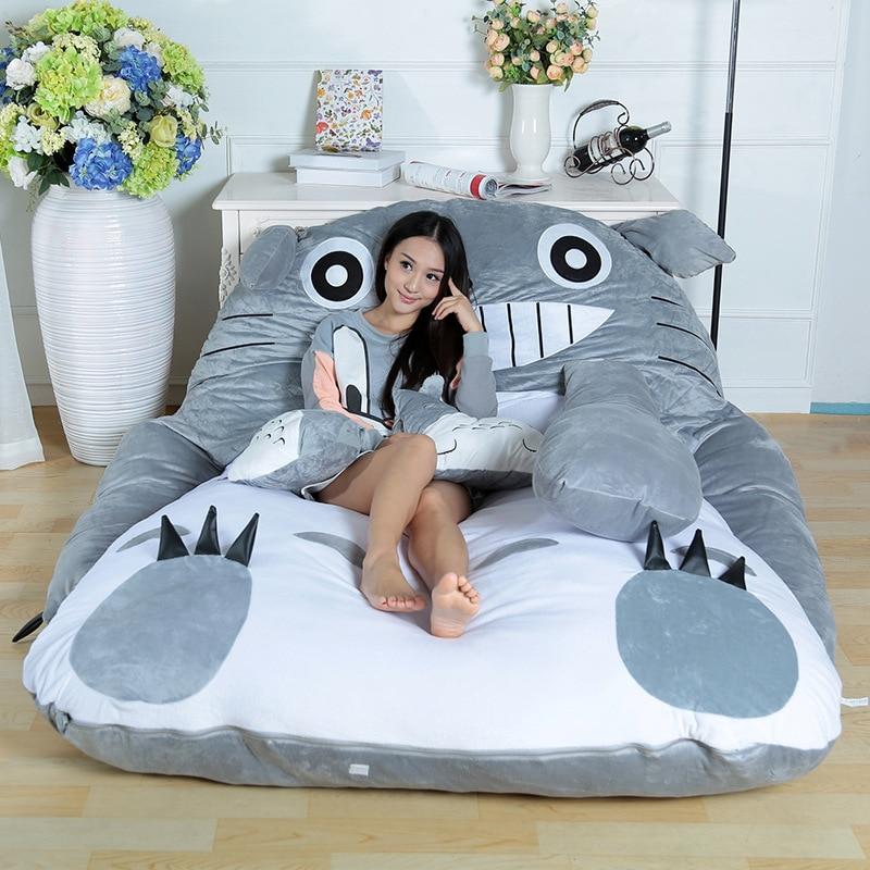 2016 Fashion Free Shipping Super cute cartoon Totoro double sleeping bag lazy sofa mattress Totoro tatami personalized gift