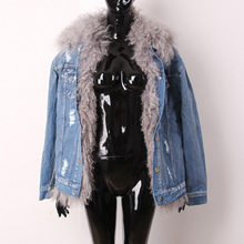 [XITAO] NEW European casual style solid color wool V-neck collar full regular sleeve single breasted frayed denim vest OFB-014