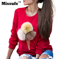 Missufe Moda Pullovers 3D Hoodies Outono Inverno Bola De Pêlo Artificial Camisola Ice Cream Impresso Mulheres Top Jumpers Treino