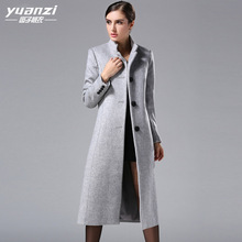 2017 Autumn Winter New Large Size Women Cashmere Coat Fashion Europen Classical Female Overcoat Stand Collar Long Woolen Coat