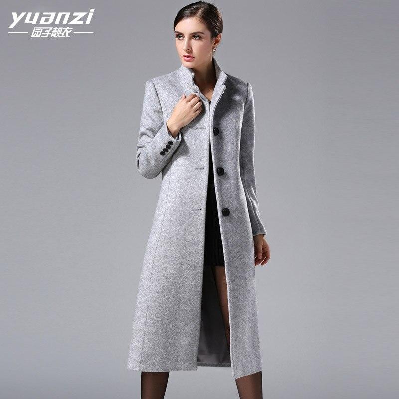 2019 Autumn Winter New Large Size Women Cashmere Coat Fashion Europen Classical Female Overcoat Stand Collar Long Woolen Coat