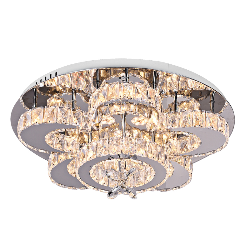 Lustre moderne Chrome inoxydable Dimmable plafonniers K9 cristal Luminaria télécommande plafonnier salon Led lampara