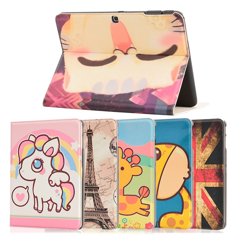 Fashion Printing Pattern Case For Samsung Galaxy Tab4 10.1 T530 T531 T535 PU Leather Stand Flip Cover +Film + pen