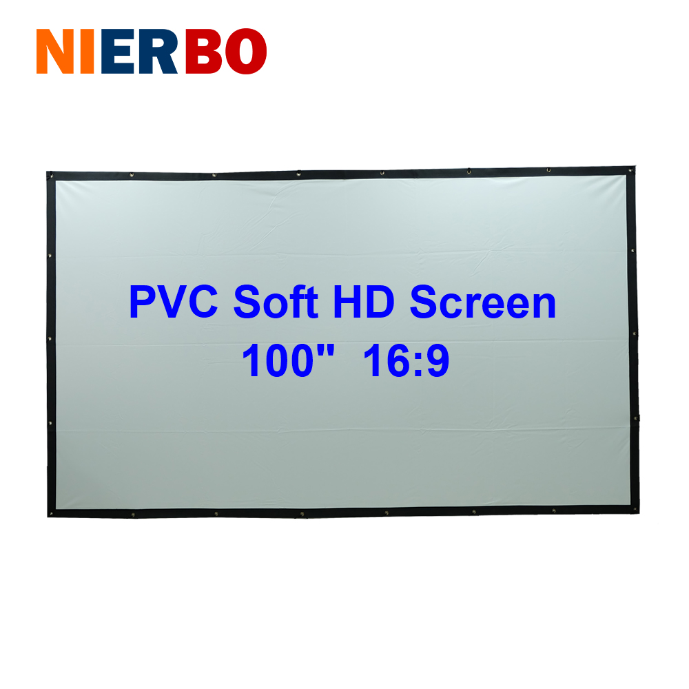 100 inches PVC Soft White-Black 16:9 Projector Screen Curtain Film Gain 1.5 Fast Fold with Eyelets for Movies Business Education fast free shipping bracket projector screens 72 inches 16 9 tripod projection screen hd portable floor stand matt white