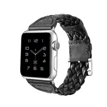 Fashion Classic Weave Leather Band For Apple Watch Series 1 2 3 4 Genuine Leather Strap For iWatch 38mm 40mm 42mm 44mm Bracelet(China)