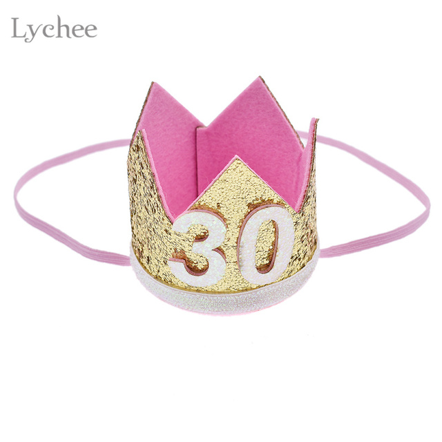 Lychee Glitter Thirty Birthday Crown Hairband Gold Color Sequins