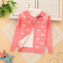 2016 New Autumn/Winter Baby Girl Sweater Casual Style Girl Cotton Cardigan Long Sleeve O-neck Solid Bow Pattern Children Sweater