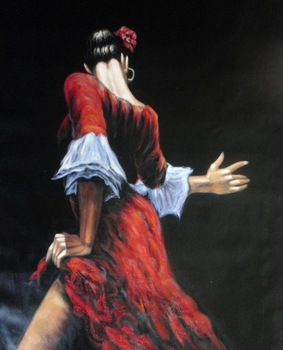 100%Handmade Salsa Tango Flamenco Dancer Oil Painting 28x16 NOT a print