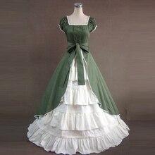 Плюс размер Лето женщины Винтаж готический викторианской лолита платье Дамы повязки партии вечера платье макси лолита костюмы