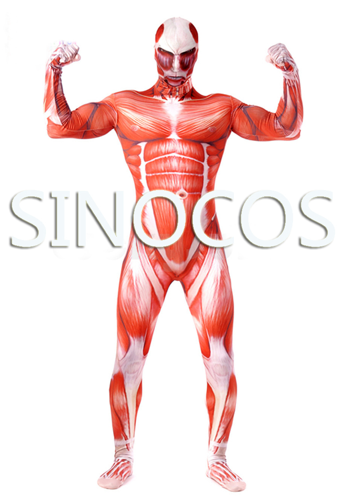 Attack on titan Shingeki no Kyojin cosplay costumes red Muscle Man Lycra Spandex Multi-Color suits cosplay free shipping