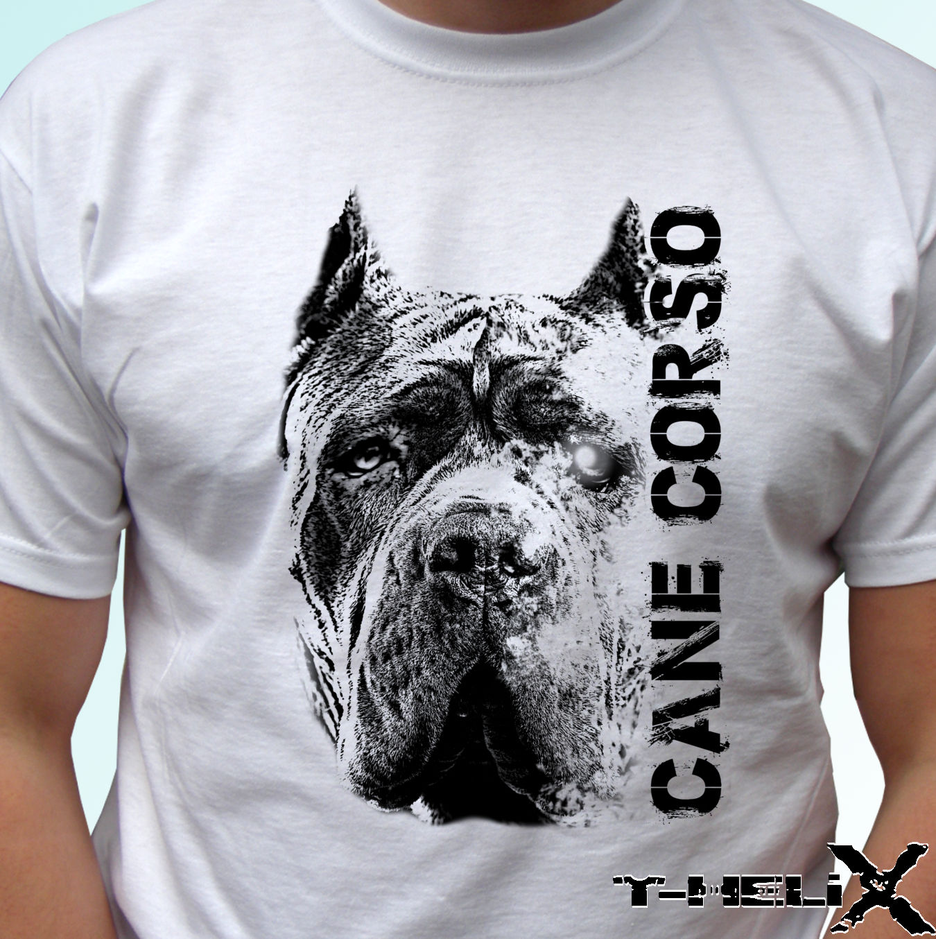 New Summer Fashion Men   T     Shirt   Simple Short-Sleeved Cotton   T  -  Shirt   Cane Corso Head - Dog Customize   T     Shirts