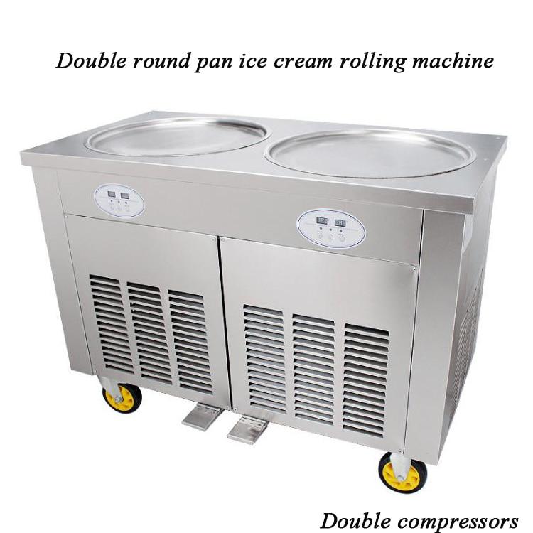 Marmo pietra fredda macchina per il gelato fritto doppio pan con il Giappone CompressoreMarmo pietra fredda macchina per il gelato fritto doppio pan con il Giappone Compressore