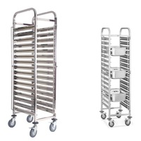 (Ship from EU) Large 16 Tiers Stainless Steel Catering Hotel Restaurant Home Bakery Cake Trolley shopping Cart Basket