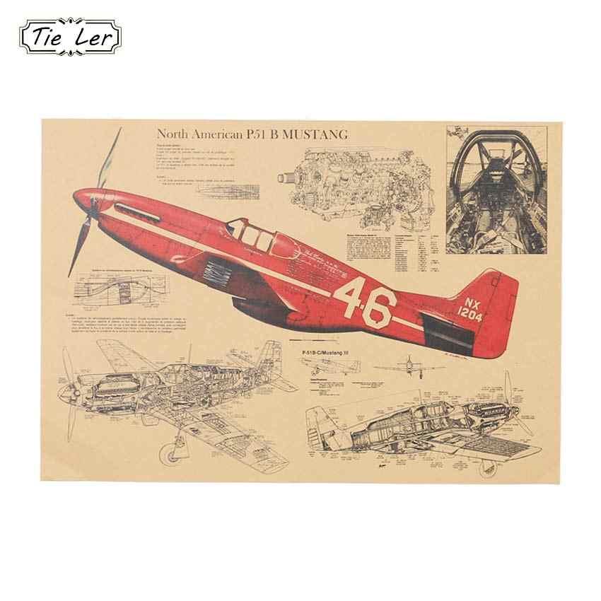 1PC Pesawat Tempur Struktural Retro Poster Gambar Desain Kraft Kertas Mural Stiker Dinding Dekorasi