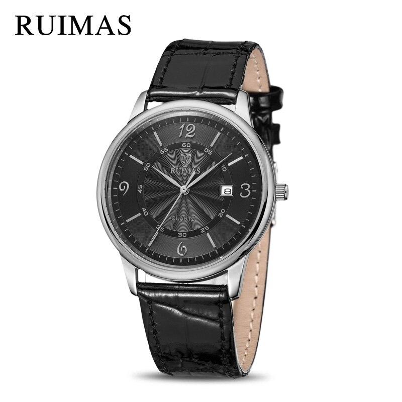 RUIMAS Leather Men Quartz Wristwatches Top Brand Dress Business Watch Army Military Watches Erkek Kol Saati Relogio Masculino asg dan wesson 2 5