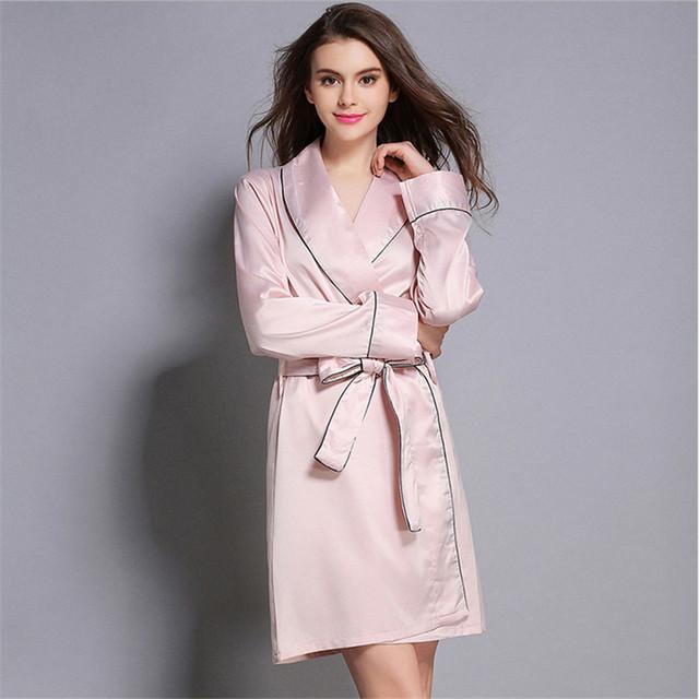 2016 moda de nova mulheres manga Comprida Cevada Pescoço Sexy pijamas robe cintura elegante de Cetim Robes Roupões camisola de alto escalão