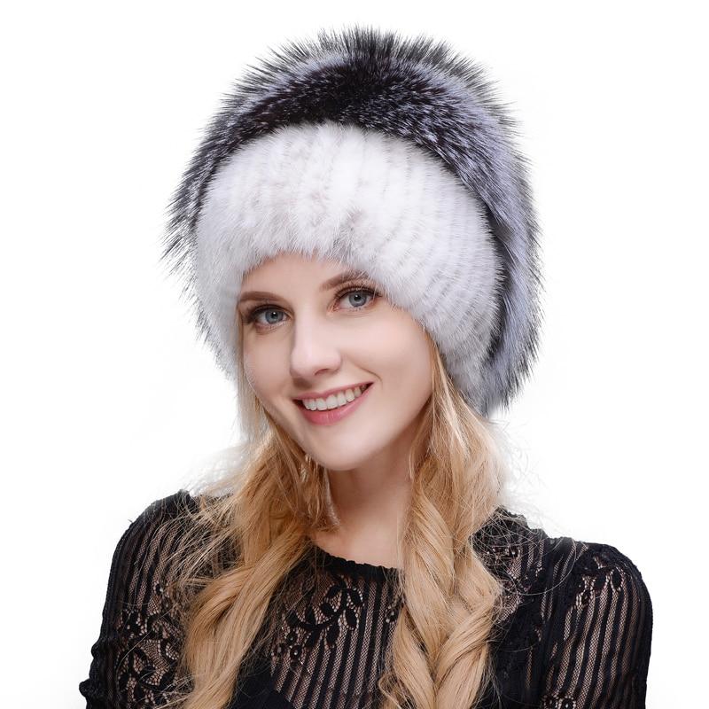 JERYAFUR 2017 ruso tapa de punto nuevo listado de visón y zorro sombrero  real de piel 1eb9aeeb3b8
