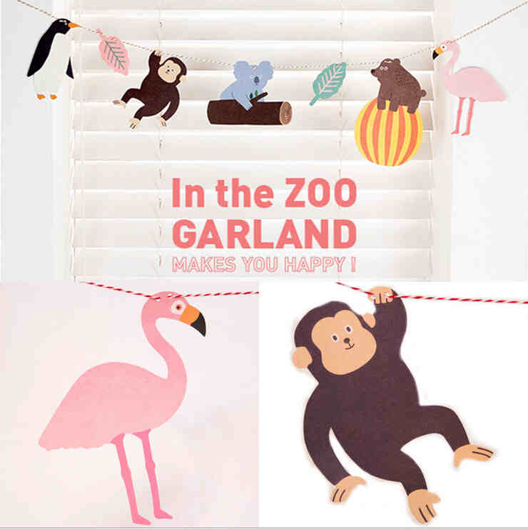 Bentoy Zoo Animal Tropical Rain Forest Paper Party Garland Korean Kawaii Animals DIY Decoration Kids Handmade Arts and Crafts