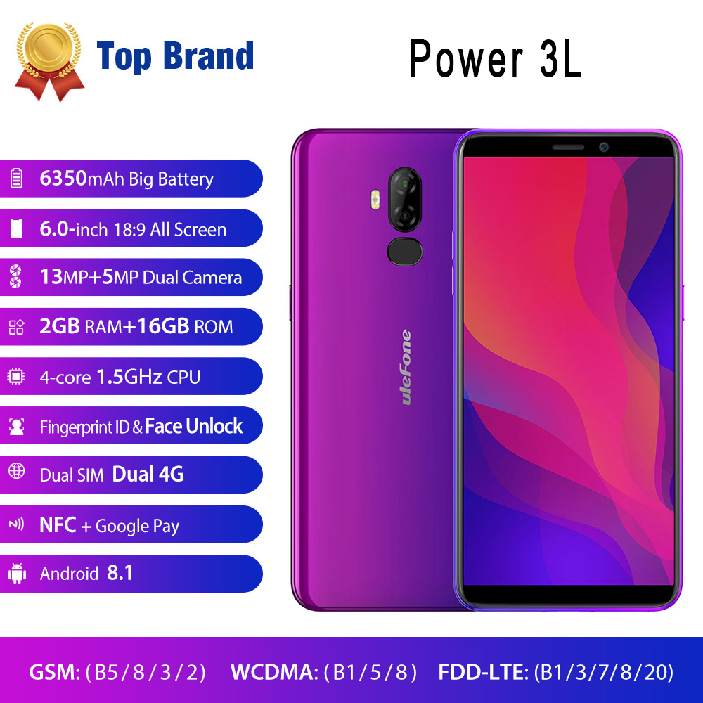 "Face ID 4G Smartphone 6.0"" HD Android 8.1 Mobile Phone 6350mAh MTK6739 Quad Core 2GB+16GB NFC 13MP+5MP Camera Ulefone Power 3L-in Cellphones from Cellphones & Telecommunications    1"